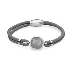 Qudo bracelet Italian Napa leather stainless steel jewellery swarovski