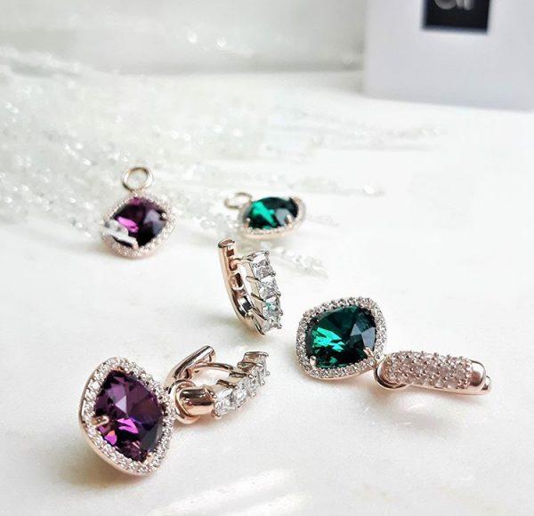 Marmara Sterling Interchangeable earrings swarovski Fabeles